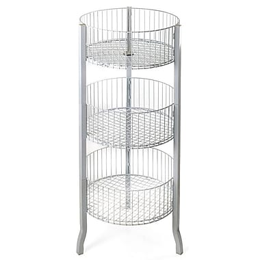 Azar Displays 3-Tier Large Round Wire Dump Bin, White, 45