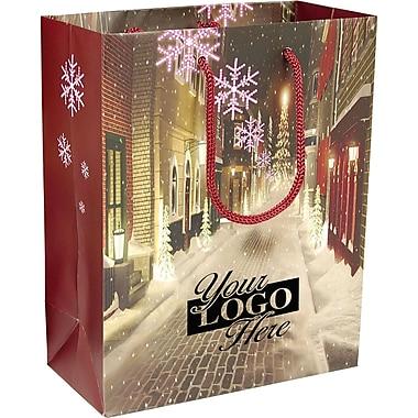 Sac en papier laminé à motif Village de Noël, 8 x 4 x 10 (po), bte/100