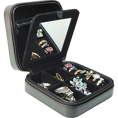 Margo Zip Up Travel Jewellery Case, Black
