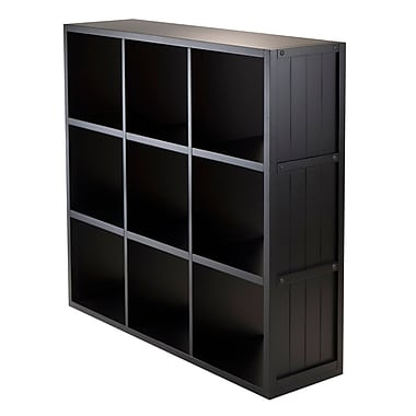 Winsome Timothy Storage Shelf with Wainscoting Panel, 3 x 3 Cube, 37.76