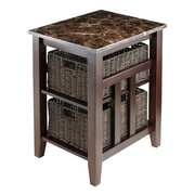 Winsome Zoey Faux Marble Top Side Table with 2 Baskets