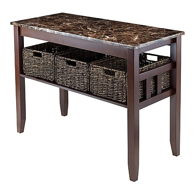 Winsome Console Table with Baskets, Faux Marble Top, Chocolate (76342)