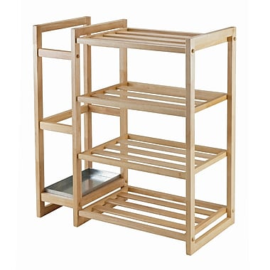Winsome Isabel Shoe Rack with Umbrella Stand and Tray, Natural