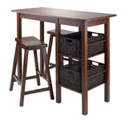 "Winsome Egan Table with Two 24"" Saddle Seat Stools, Antique Walnut (94585)"