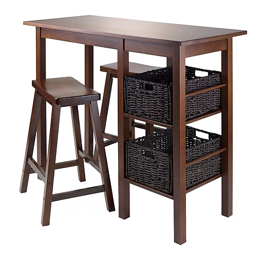 """Winsome Egan Table with Two 24"""" Saddle Seat Stools, Antique Walnut (94585)"""