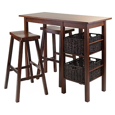 Winsome Egan 5-Piece Breakfast Table with 2 Baskets and 2 Saddle Seat Stools