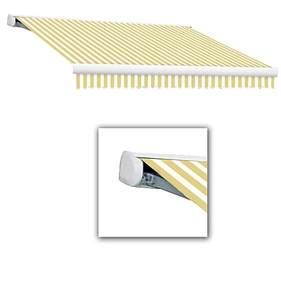 Awntech® Key West Full-Cassette Right Motor Retractable Awning, 12' x 10', Yellow/White