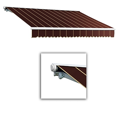 Awntech® Galveston® Left Motor Retractable Awning, 10' x 8', Burgundy Pinstripe