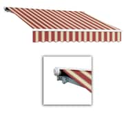 "Awntech® Galveston® Left Motor Retractable Awning, 20' x 10' 2"", Burgundy/White Multi"