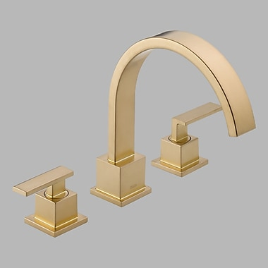 Delta Vero Double Handle Deck Mount Roman Tub Faucet Trim; Brilliance Champagne Bronze