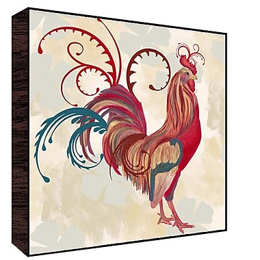 Green Leaf Art Teal Rooster I Graphic Art; 12'' H x 12'' W x 1.5'' D