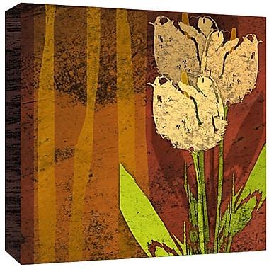 Green Leaf Art Tulips Painting Print