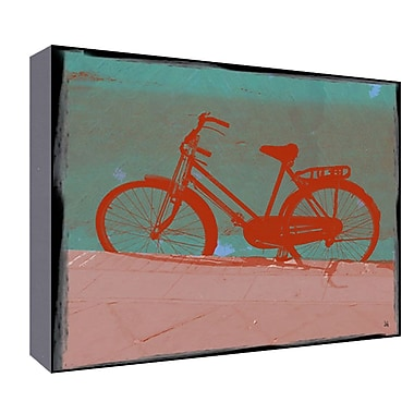 Green Leaf Art Female Bike Graphic Art; 11'' H x 14'' W x 1.5'' D