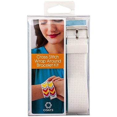 Coats Thread & Zippers Wrap Bracelet Cross Stitch Kit, Neon Pink