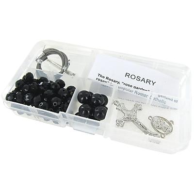 Linpeng International Crystal & Pearl Rosary Bead Kit, Black Crystal Beads/Black Pearls