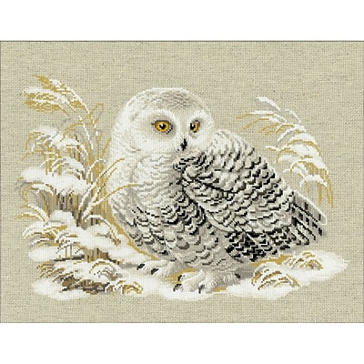 """""Riolis 17 3/4"""""""" x 13 3/4"""""""" Counted Cross Stitch Kit, White Owl"""""" 1197099"