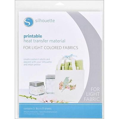 Silhouette PRINTLT White Printable Heat Transfer Material for Light Fabrics, 11