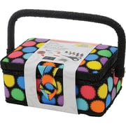 "Singer® 7 1/4"" x 3 1/2"" x 5"" Sewing Basket, Bright Dots"