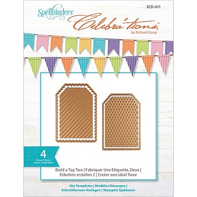 Spellbinders SCD011 Gold Celebra'tions Cutting Die Template Build-A-Tag Two 1196921