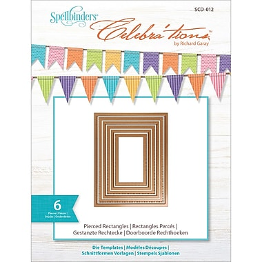 Spellbinders SCD012 Brown Celebra'tions Pierced Rectangle Cutting Die Template, 4.13