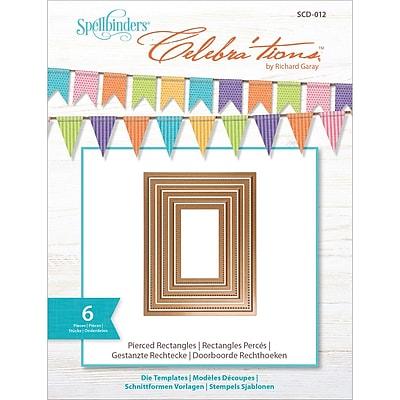 Spellbinders SCD012 Brown Celebra'tions Pierced Rectangle Cutting Die Template, 4.13