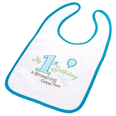 Lillian Rose™ First Birthday Cotton Bib, Blue