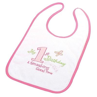 Lillian Rose™ First Birthday Cotton Baby Bib, Pink