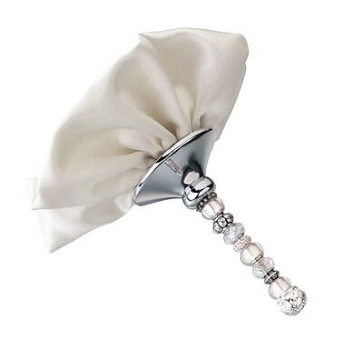 Lillian Rose™ Silver Beaded Satin Bouquet Holder, Ivory