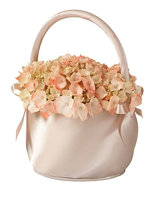 Lillian Rose™ Satin Flower Basket, Taupe