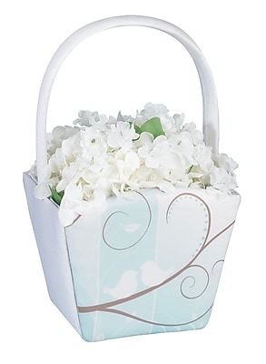 Lillian Rose™ Love Birds Flower Basket, White
