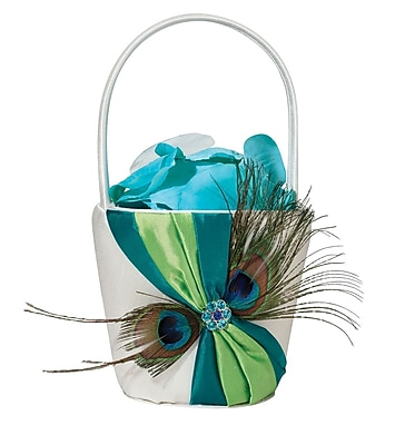 Lillian Rose Peacock Feather Satin Flower Basket, Cream 1173615