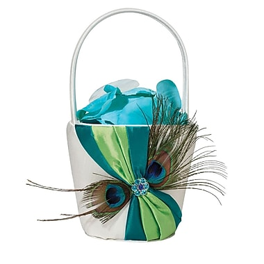 Lillian Rose™ Peacock Feather Satin Flower Basket, Cream