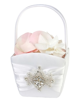Lillian Rose Jeweled Motif Flower Girl Basket, White 1173600