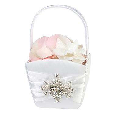 Lillian Rose™® Jeweled Motif Flower Girl Basket, White