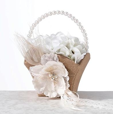 Lillian Rose™ Burlap & Lace Flower Basket, Ivory