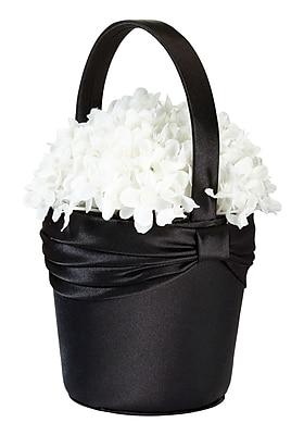 Lillian Rose™ Satin Sash Flower Basket, Black
