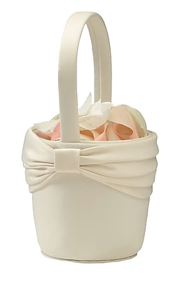 Lillian Rose™ Satin Sash Flower Basket, Ivory