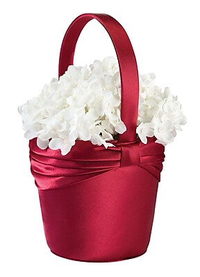 Lillian Rose™ Satin Sash Flower Basket, Red