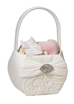 Lillian Rose™ Vintage Lace Satin Flower Basket, Cream