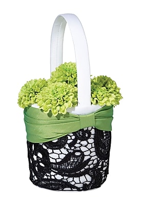 Lillian Rose™ Flower Basket, Green/Black