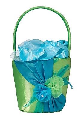 Lillian Rose Flower Basket, Blue/Green 1173546