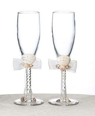 Lillian Rose™ Seashell Toasting Glasses, Ivory, 2/Set