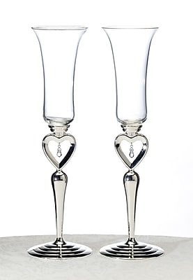 Lillian Rose Dangling Jewel Heart Toasting Glasses, 2/Set 1173497