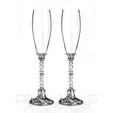 Lillian Rose™ Silver Beaded Toasting Glasses, Clear, 2/Set