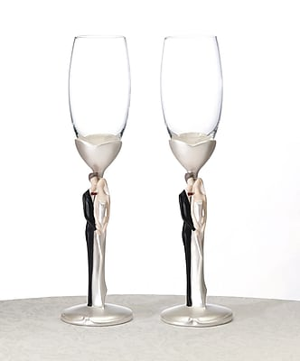 Lillian Rose Caucasian Couple Toasting Flute Glasses, 2/Set 1173483