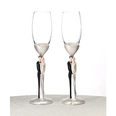 Lillian Rose™ Caucasian Couple Toasting Flute Glasses, 2/Set