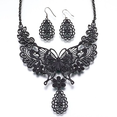 Lillian Rose™ Butterfly Necklace and Earrings Set, Black