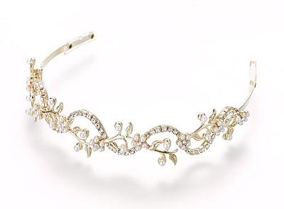 Lillian Rose™ Pearl/Rhinestone Wedding Tiara, Gold