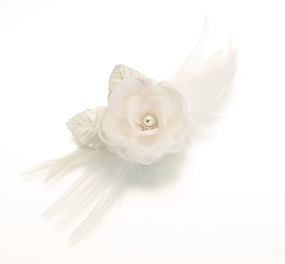 Lillian Rose™ Flower and Feather Clip/Pin, Ivory