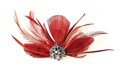 Lillian Rose™ Feather Hair Clip, Red